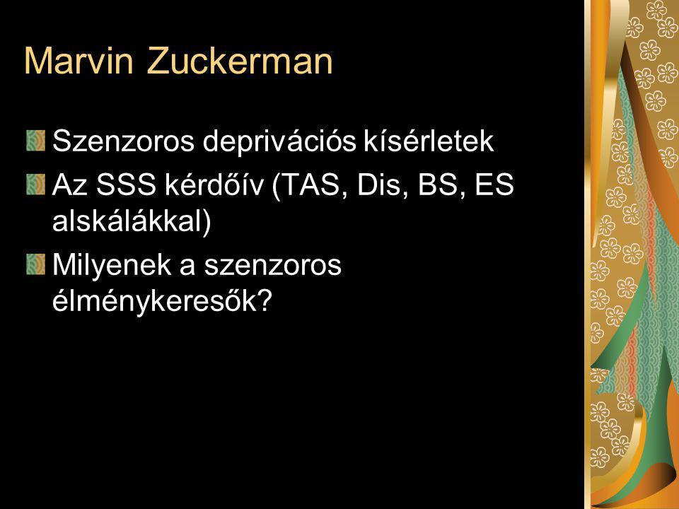 Marvin Zuckerman Szenzoros deprivációs kísérletek