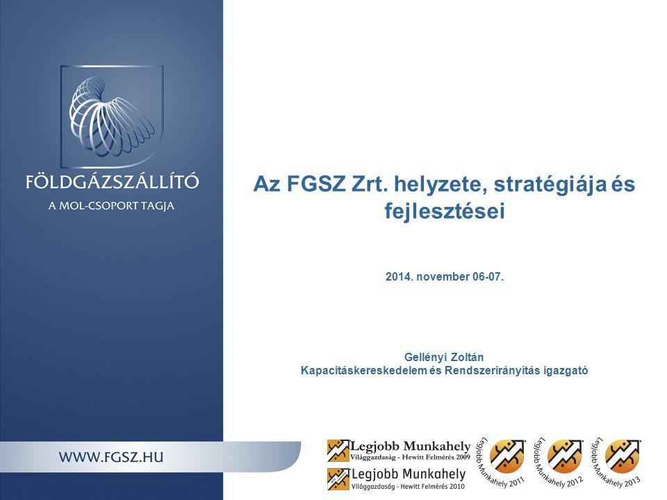 Az FGSZ Zrt. helyzete, stratégiája és fejlesztései