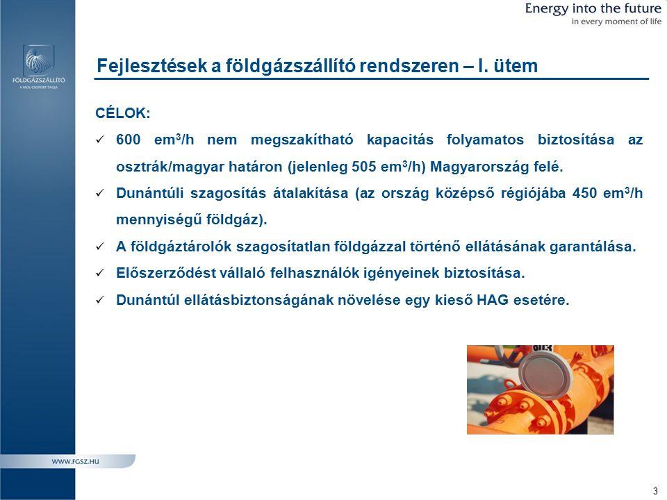 Fejlesztések a földgázszállító rendszeren – I. ütem