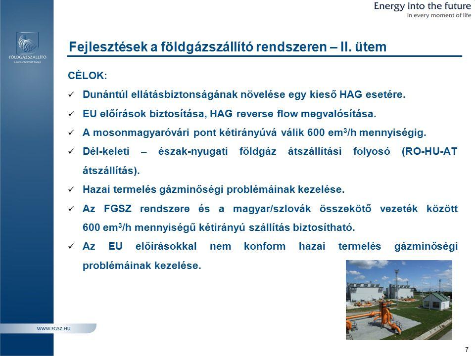 Fejlesztések a földgázszállító rendszeren – II. ütem