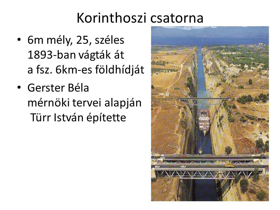 Korinthoszi csatorna 6m mély, 25, széles 1893-ban vágták át a fsz.