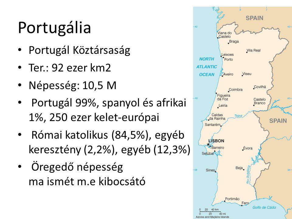 Portugália Portugál Köztársaság Ter.: 92 ezer km2 Népesség: 10,5 M