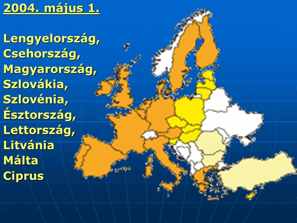 2004. május 1. Lengyelország, Csehország, Magyarország, Szlovákia, Szlovénia, Észtország, Lettország,