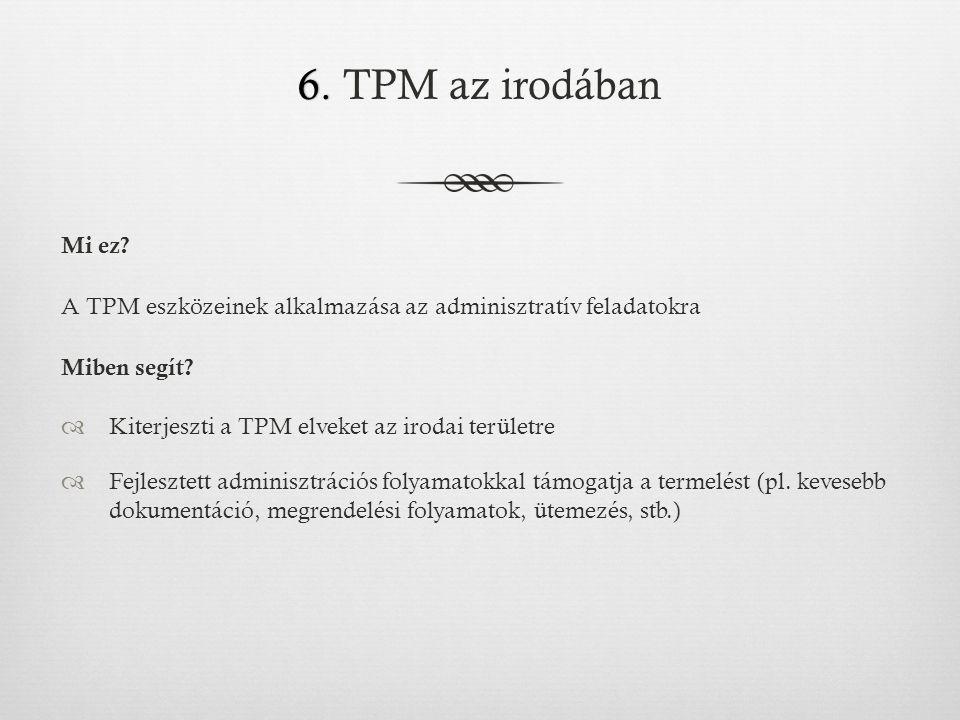 6. TPM az irodában Mi ez A TPM eszközeinek alkalmazása az adminisztratív feladatokra. Miben segít