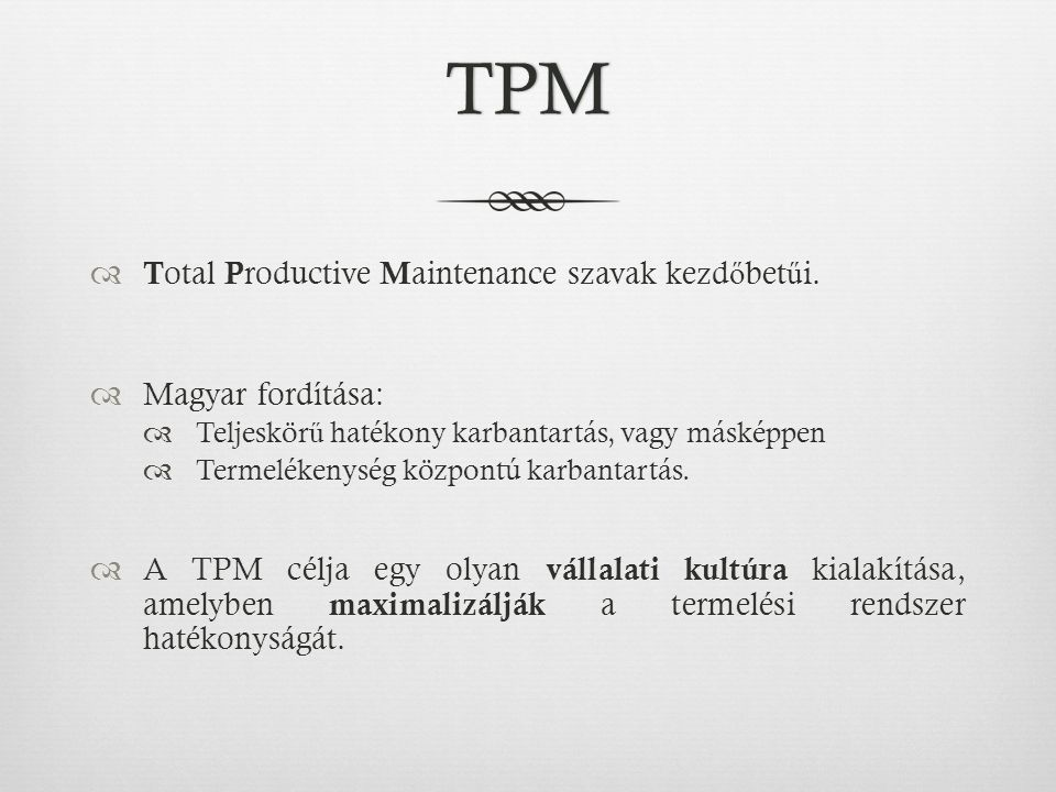 TPM Total Productive Maintenance szavak kezdőbetűi. Magyar fordítása: