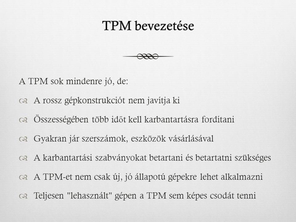 TPM bevezetése A TPM sok mindenre jó, de: