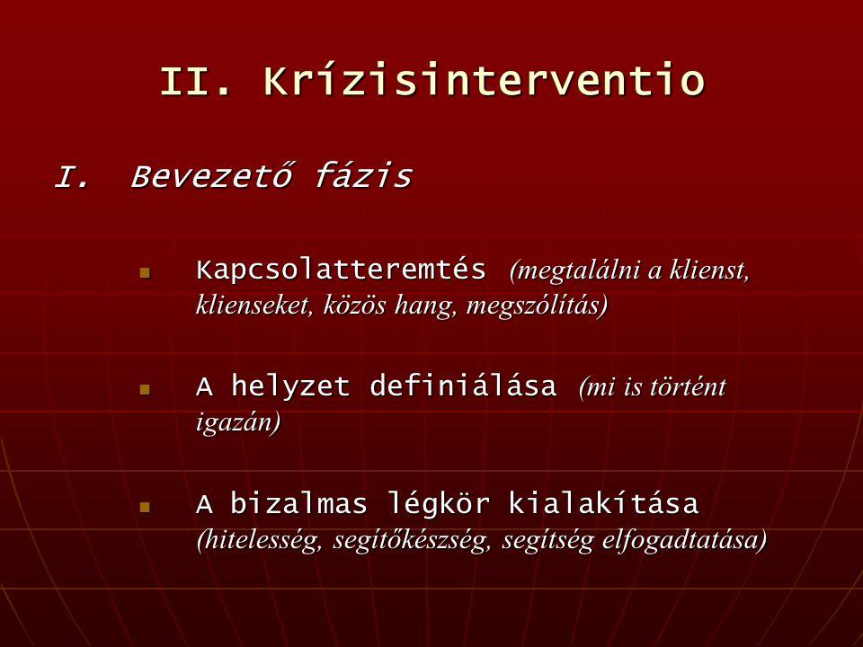 II. Krízisinterventio I. Bevezető fázis