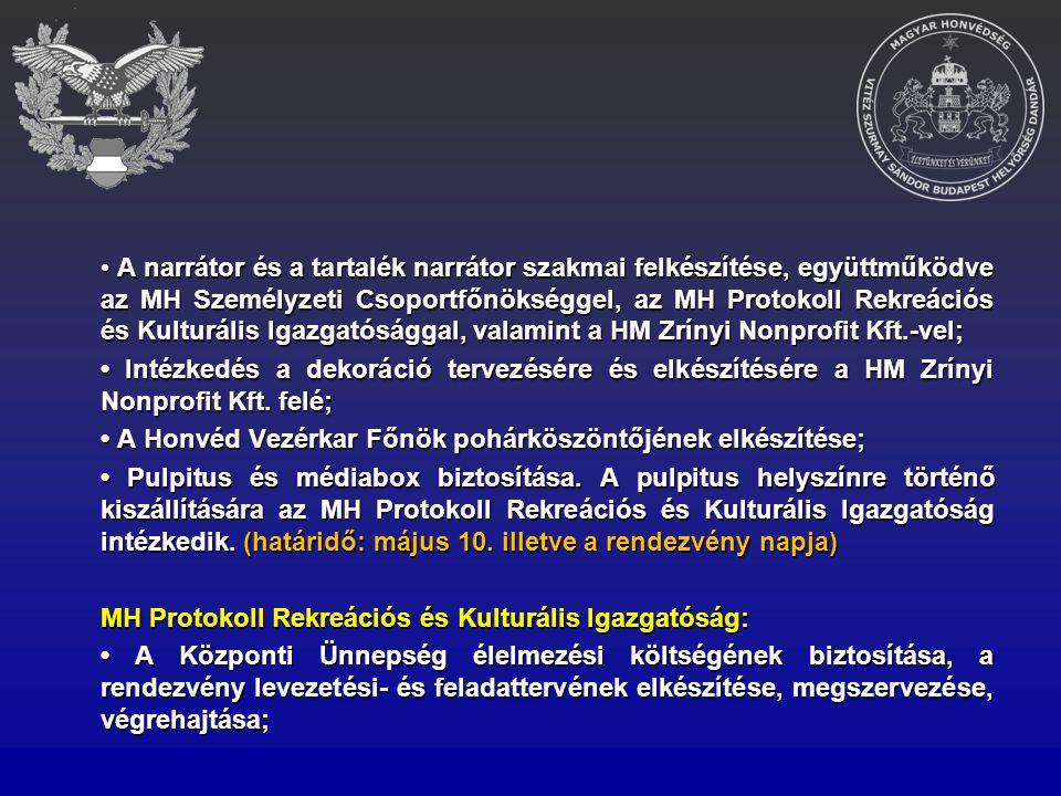 • A narrátor és a tartalék narrátor szakmai felkészítése, együttműködve az MH Személyzeti Csoportfőnökséggel, az MH Protokoll Rekreációs és Kulturális Igazgatósággal, valamint a HM Zrínyi Nonprofit Kft.-vel;