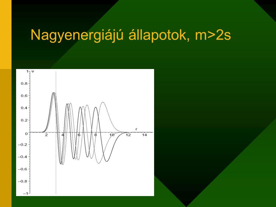 Nagyenergiájú állapotok, m>2s