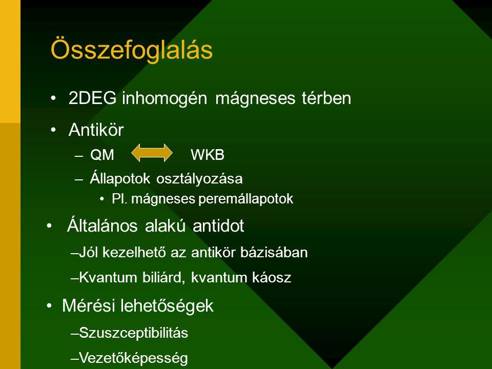 Összefoglalás 2DEG inhomogén mágneses térben Antikör