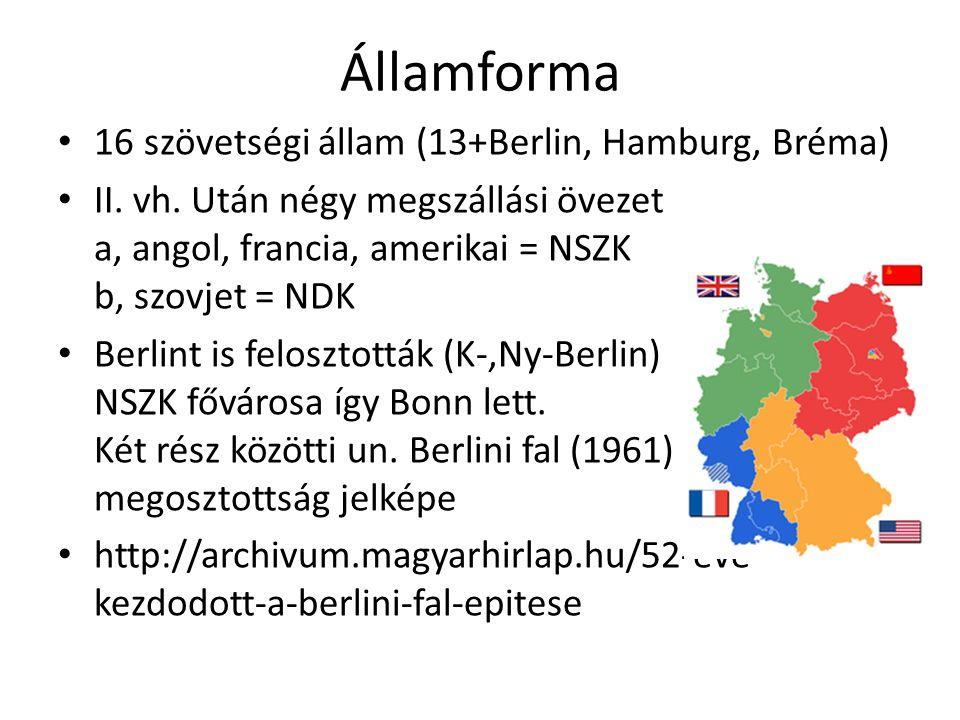 Államforma 16 szövetségi állam (13+Berlin, Hamburg, Bréma)