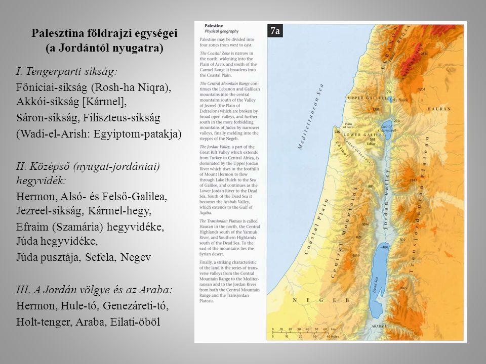 Palesztina földrajzi egységei (a Jordántól nyugatra)