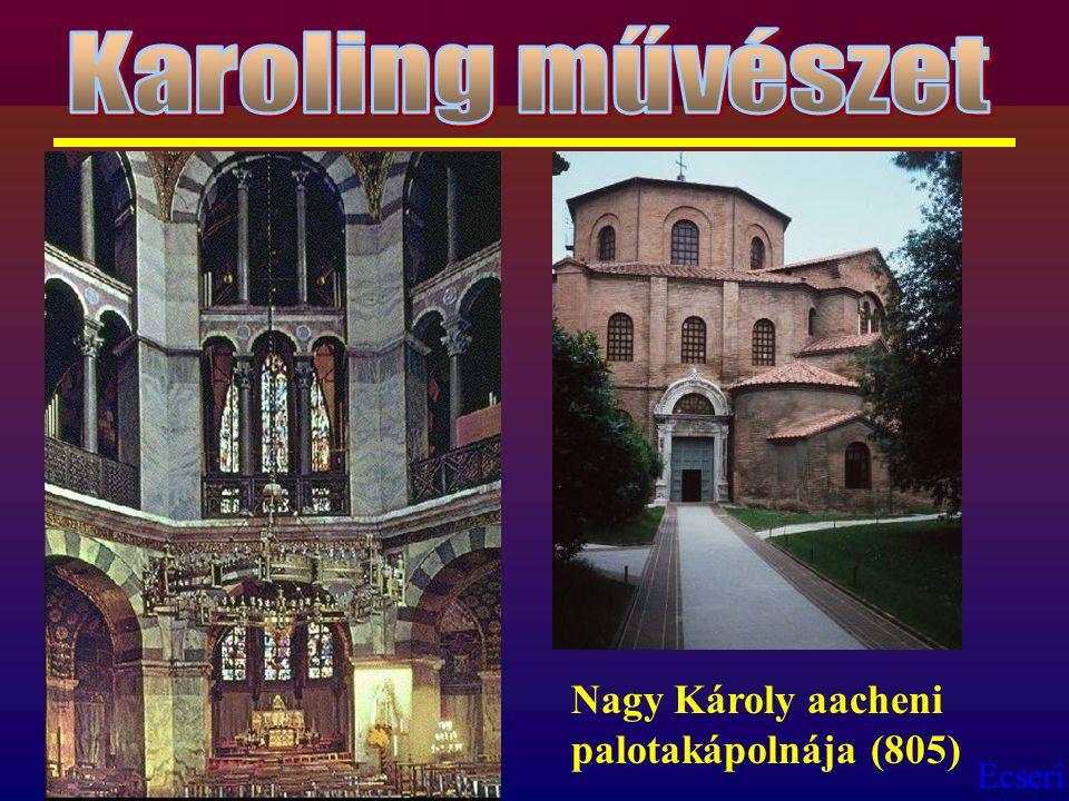 Karoling művészet Nagy Károly aacheni palotakápolnája (805)
