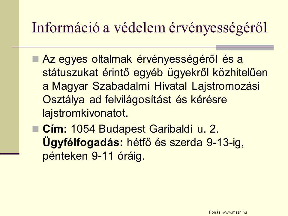 Információ a védelem érvényességéről