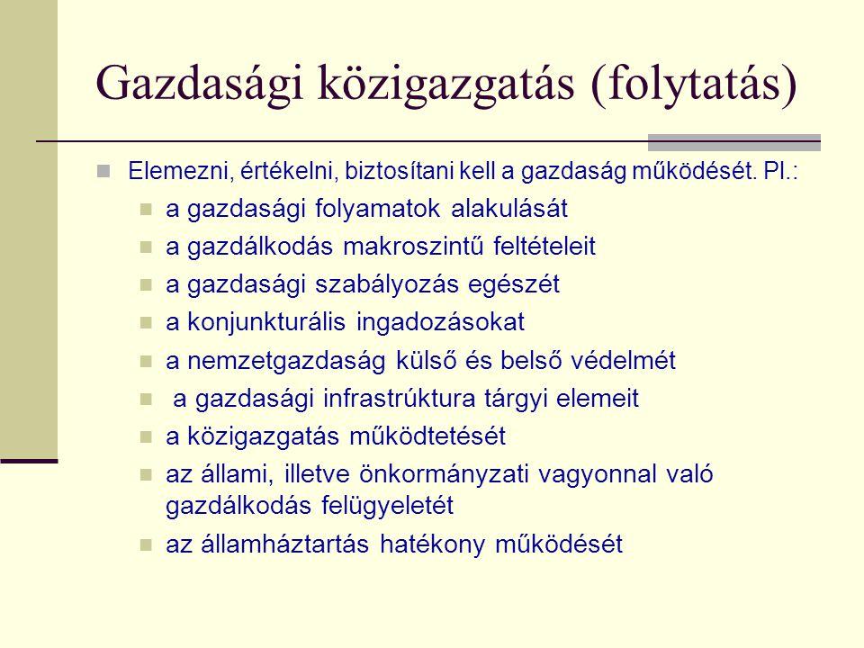Gazdasági közigazgatás (folytatás)