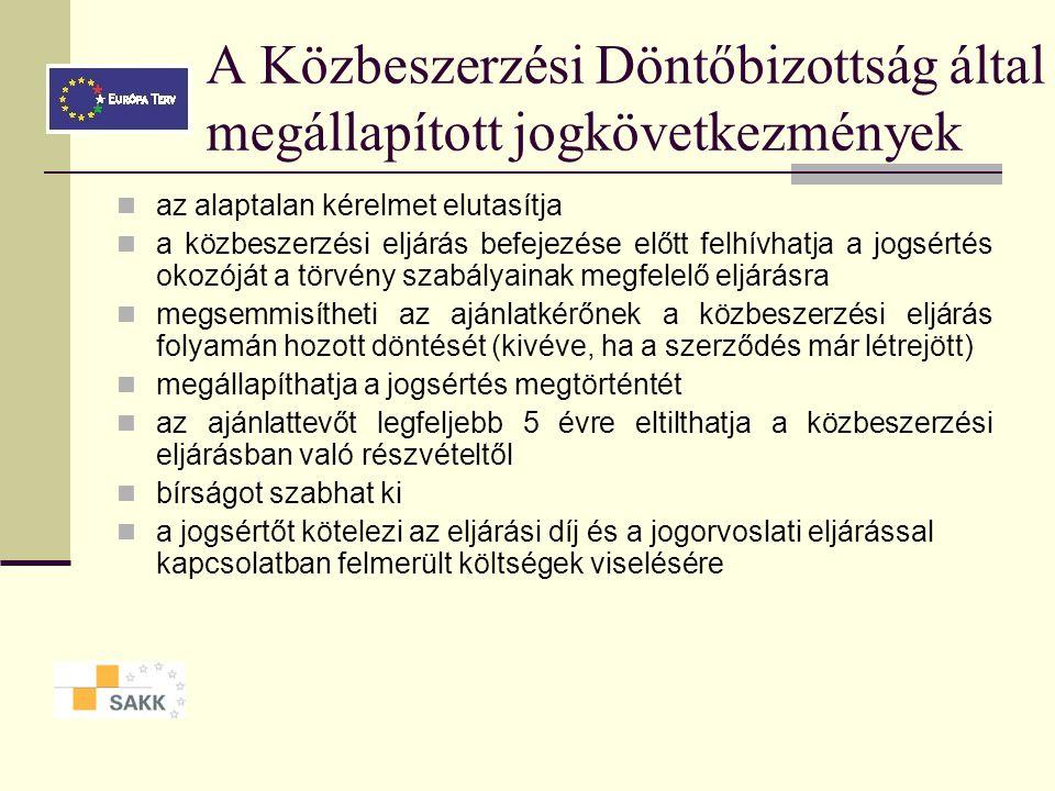 A Közbeszerzési Döntőbizottság által megállapított jogkövetkezmények