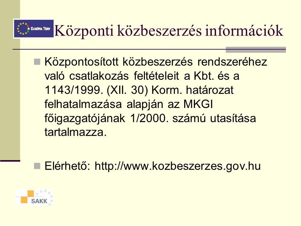 Központi közbeszerzés információk
