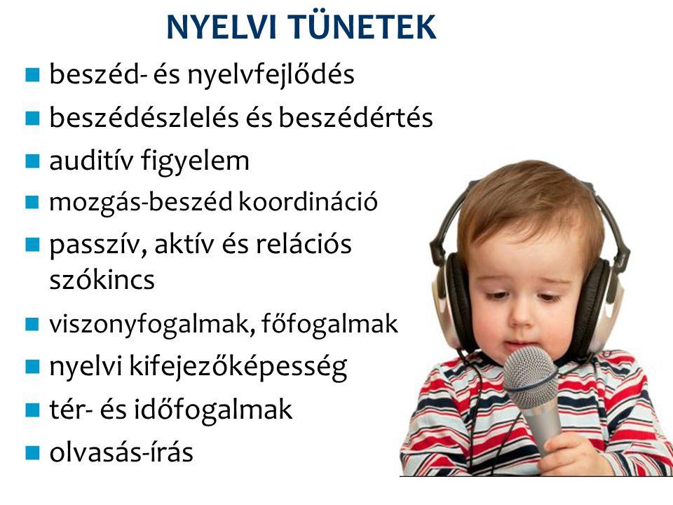 NYELVI TÜNETEK beszéd- és nyelvfejlődés beszédészlelés és beszédértés