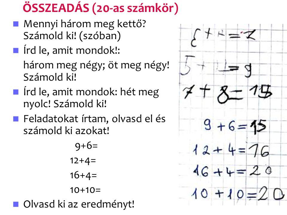 ÖSSZEADÁS (20-as számkör)