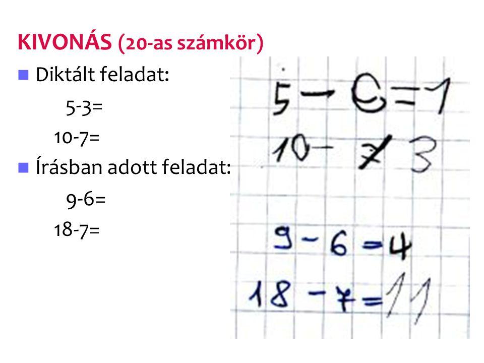 KIVONÁS (20-as számkör) Diktált feladat: 5-3= 10-7=