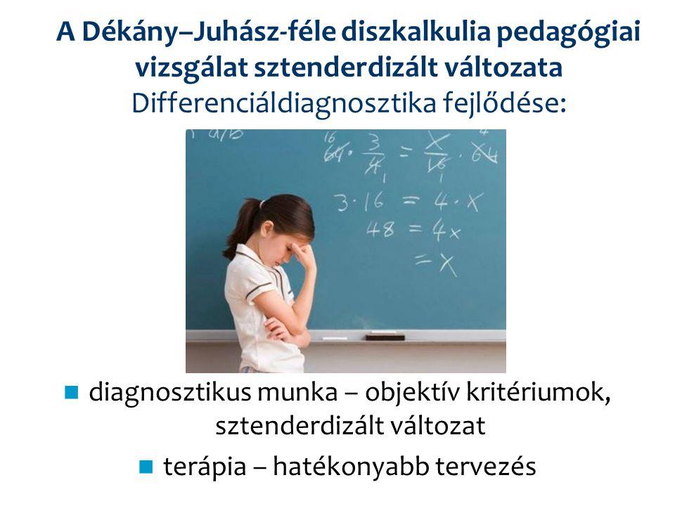 A Dékány–Juhász-féle diszkalkulia pedagógiai vizsgálat sztenderdizált változata Differenciáldiagnosztika fejlődése: