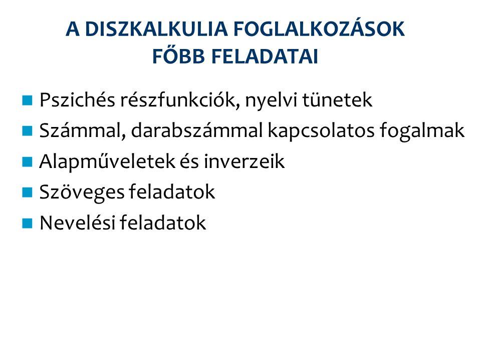 A DISZKALKULIA FOGLALKOZÁSOK FŐBB FELADATAI