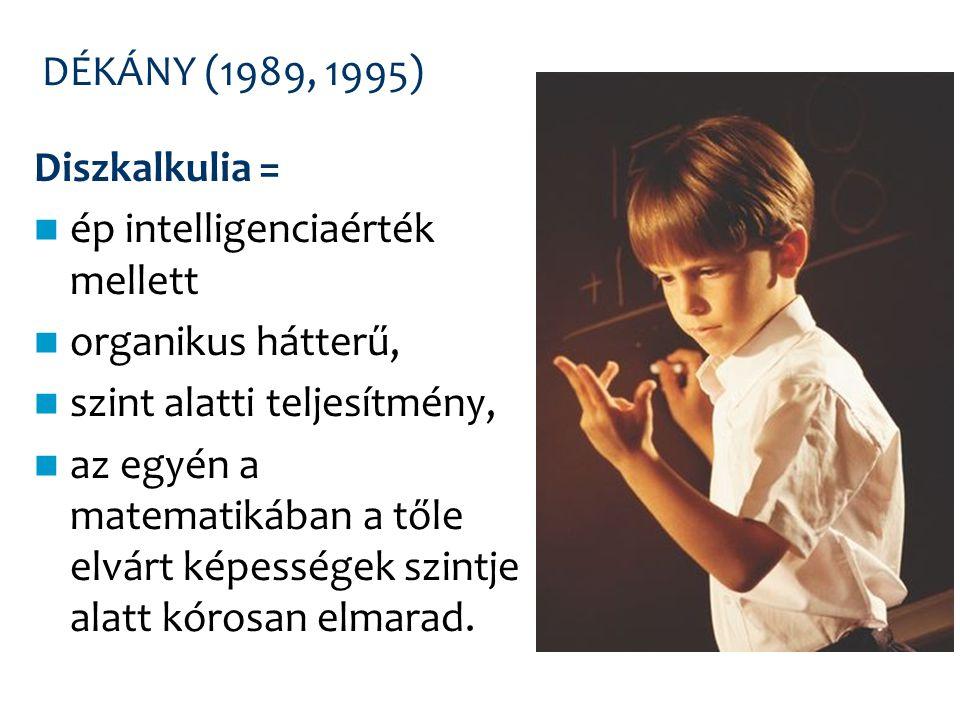 DÉKÁNY (1989, 1995) Diszkalkulia = ép intelligenciaérték mellett. organikus hátterű, szint alatti teljesítmény,