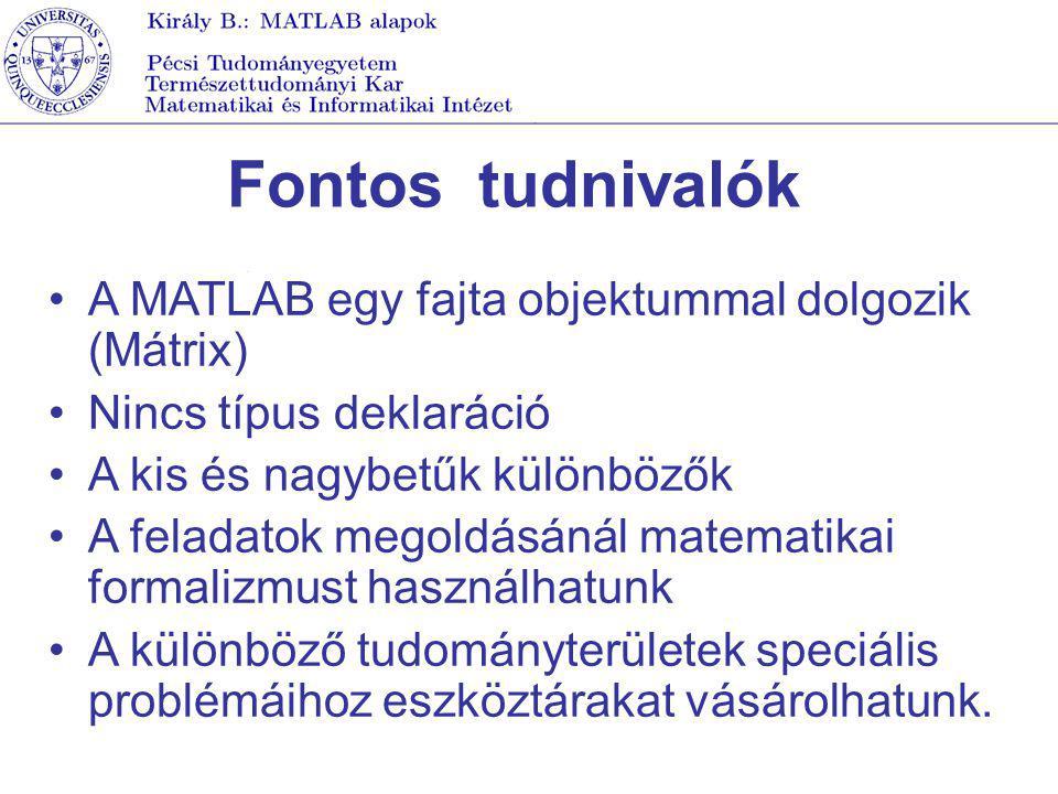 Fontos tudnivalók A MATLAB egy fajta objektummal dolgozik (Mátrix)