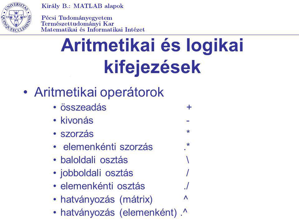 Aritmetikai és logikai kifejezések