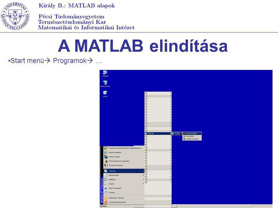 A MATLAB elindítása Start menü Programok …