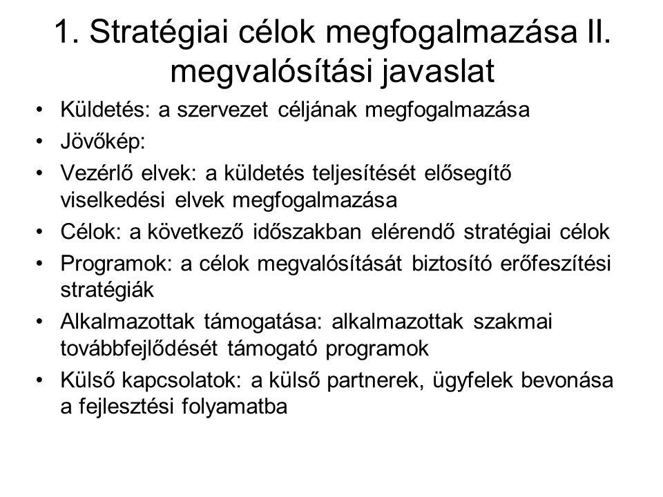 1. Stratégiai célok megfogalmazása II. megvalósítási javaslat