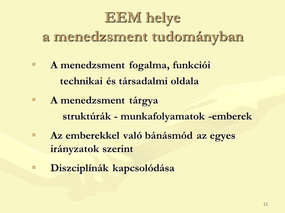 EEM helye a menedzsment tudományban