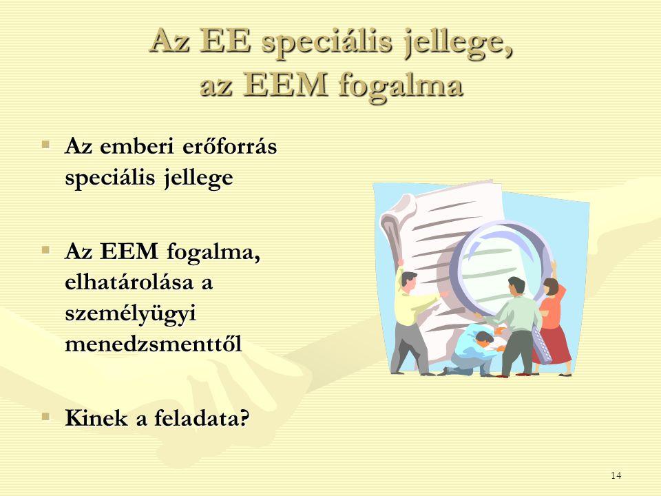 Az EE speciális jellege, az EEM fogalma