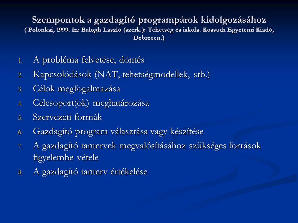 Szempontok a gazdagító programpárok kidolgozásához ( Polonkai, 1999