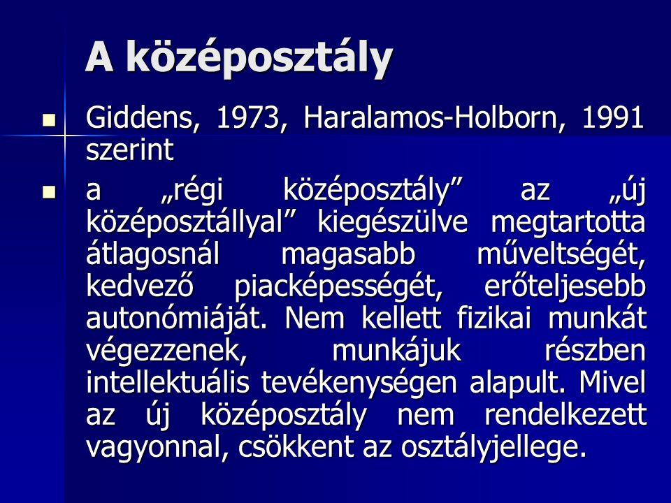 A középosztály Giddens, 1973, Haralamos-Holborn, 1991 szerint