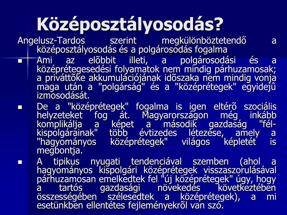 Középosztályosodás Angelusz-Tardos szerint megkülönböztetendő a középosztályosodás és a polgárosodás fogalma.