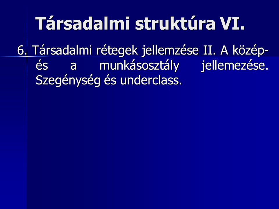 Társadalmi struktúra VI.
