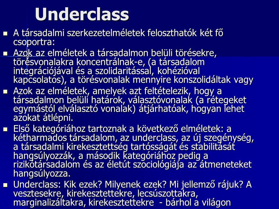 Underclass A társadalmi szerkezetelméletek feloszthatók két fő csoportra: