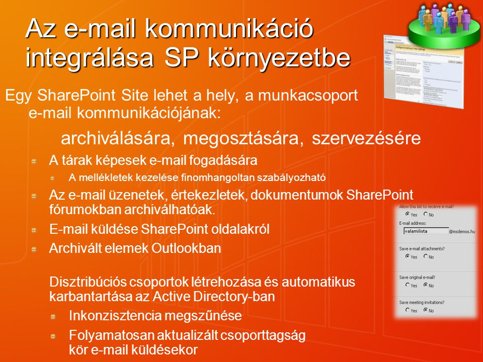 Az e-mail kommunikáció integrálása SP környezetbe