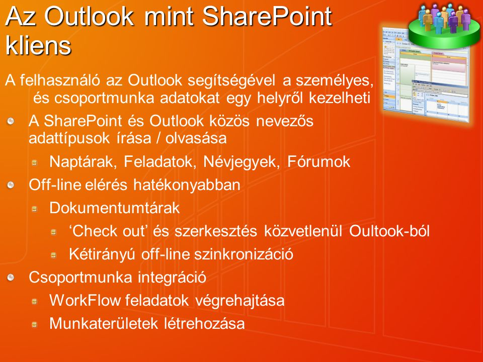 Az Outlook mint SharePoint kliens