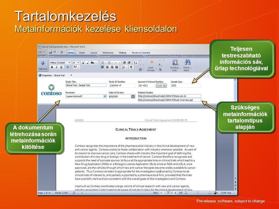 Tartalomkezelés Metainformációk kezelése kliensoldalon