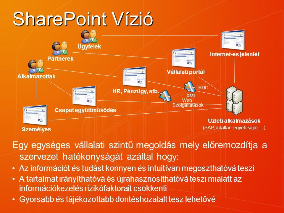 SharePoint Vízió HR, Pénzügy, stb. Csapat együttműködés. Személyes. Vállalati portál. Internet-es jelenlét.