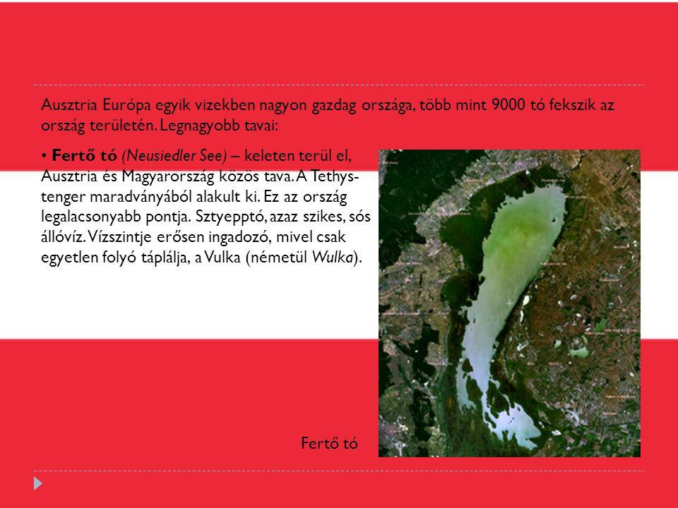Ausztria Európa egyik vizekben nagyon gazdag országa, több mint 9000 tó fekszik az ország területén. Legnagyobb tavai: