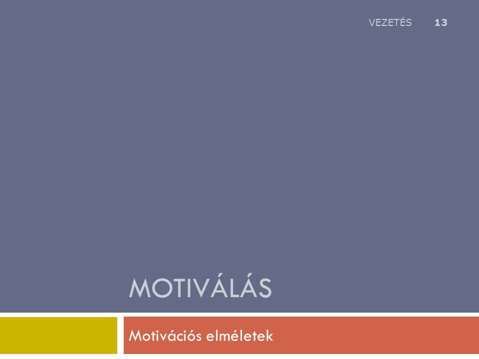 VEZETÉS Motiválás Motivációs elméletek
