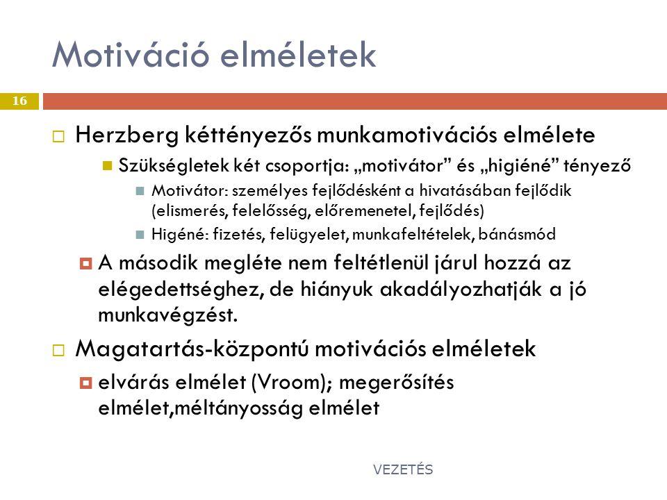 Motiváció elméletek Herzberg kéttényezős munkamotivációs elmélete
