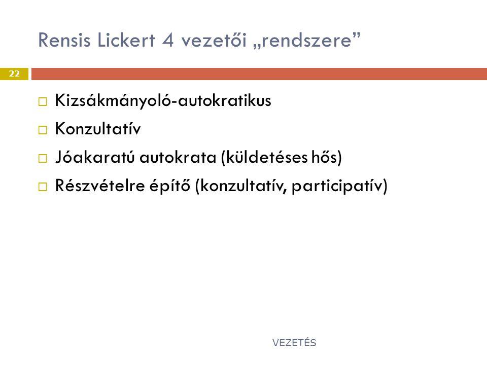"Rensis Lickert 4 vezetői ""rendszere"