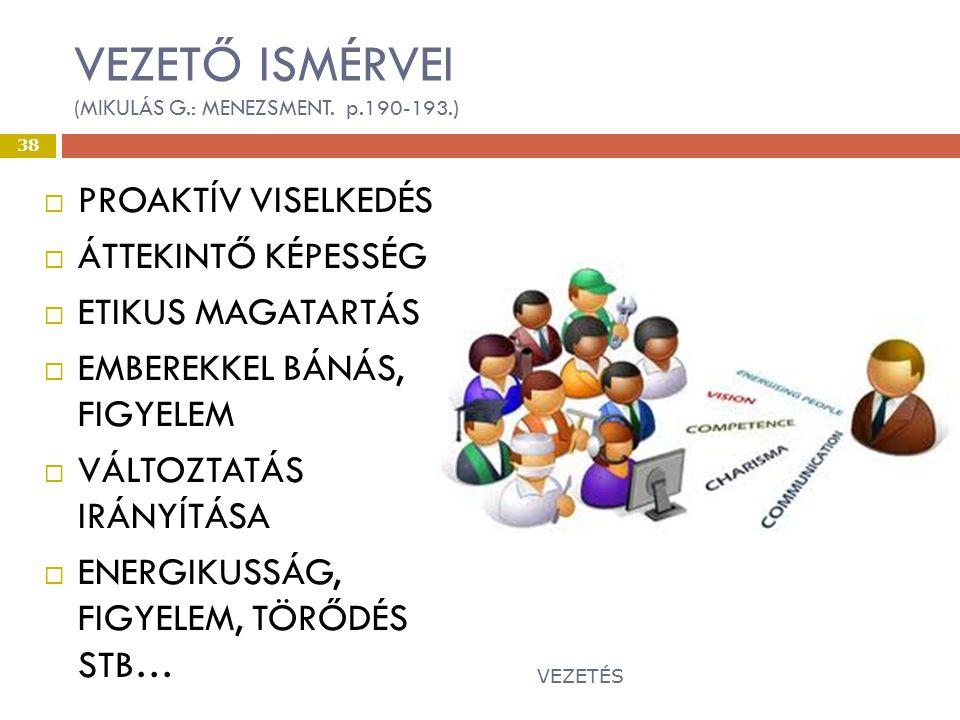 VEZETŐ ISMÉRVEI (MIKULÁS G.: MENEZSMENT. p.190-193.)