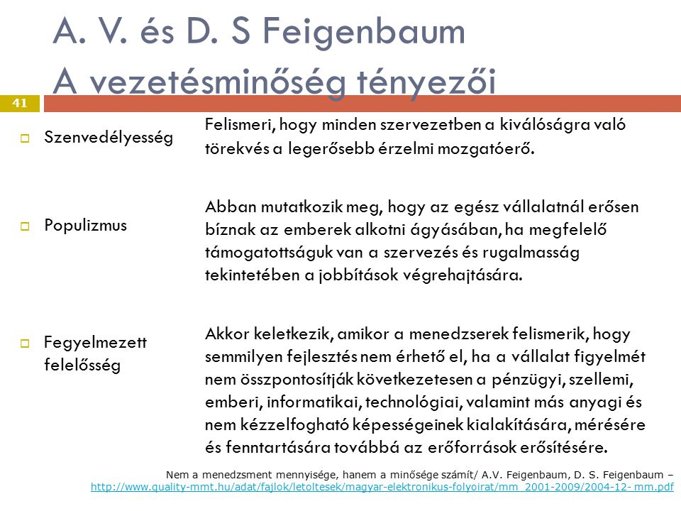 A. V. és D. S Feigenbaum A vezetésminőség tényezői