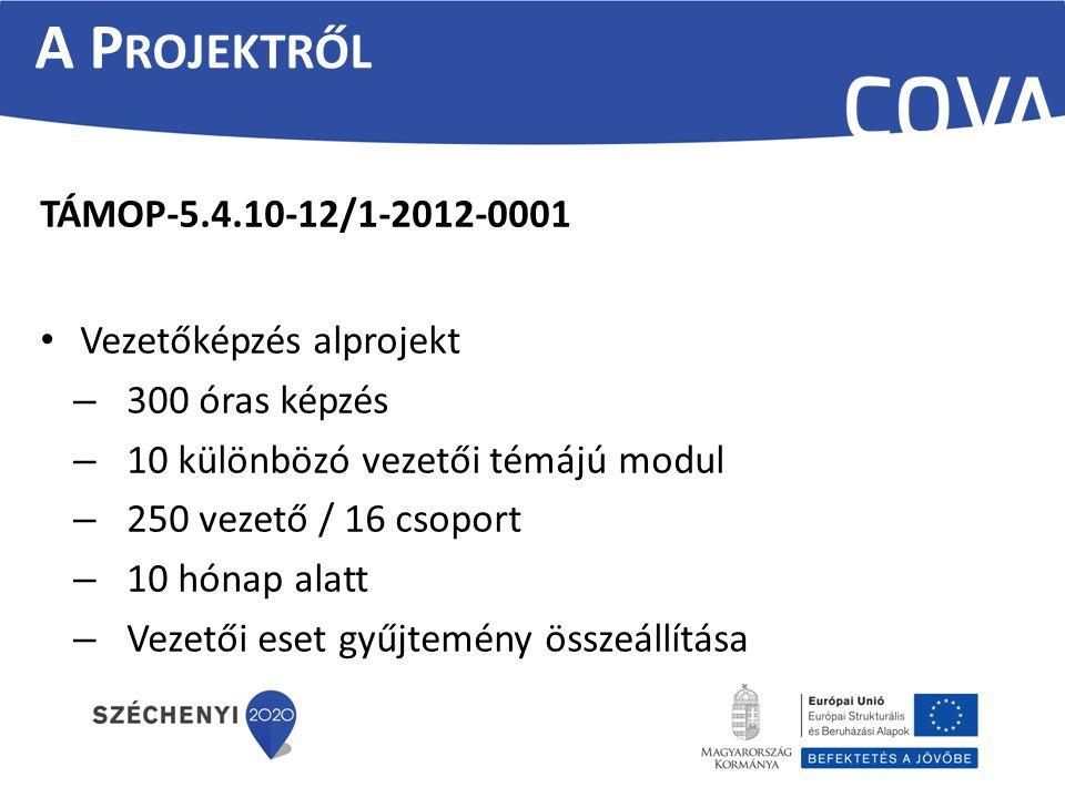 A Projektről TÁMOP-5.4.10-12/1-2012-0001 Vezetőképzés alprojekt