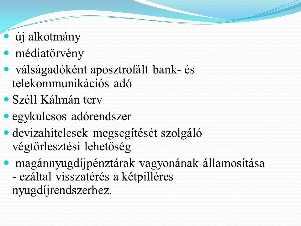 új alkotmány médiatörvény. válságadóként aposztrofált bank- és telekommunikációs adó. Széll Kálmán terv.